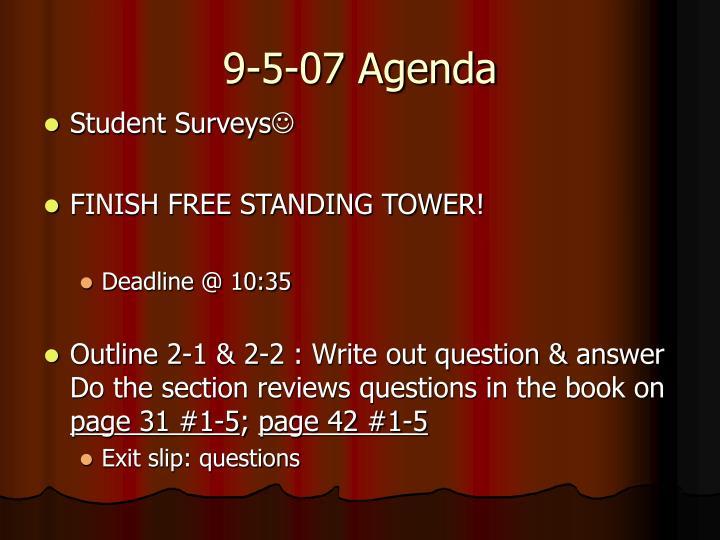 9-5-07 Agenda
