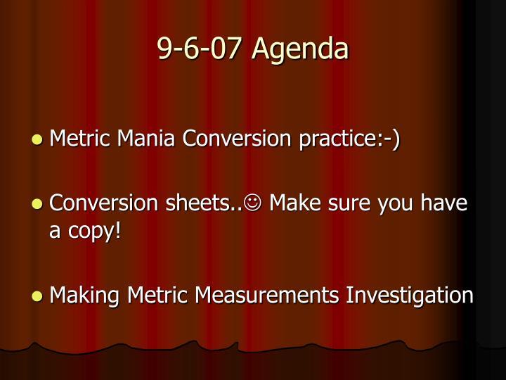 9-6-07 Agenda