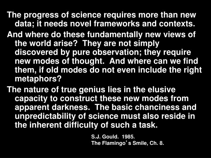 The progress of science requires more than new data; it needs novel frameworks and contexts.