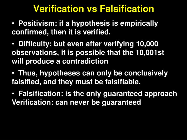 Verification vs Falsification