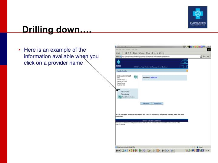 Here is an example of the information available when you click on a provider name