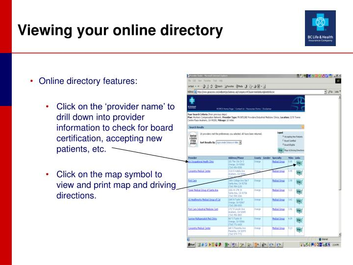 Online directory features: