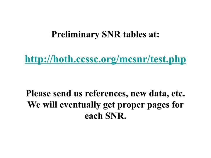 Preliminary SNR tables at: