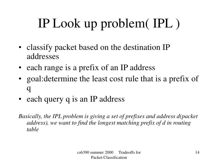 classify packet based on the destination IP addresses