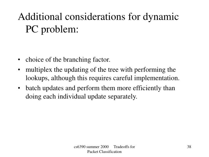 Additional considerations for dynamic PC problem:
