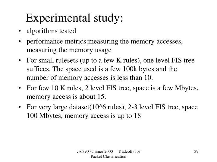 Experimental study:
