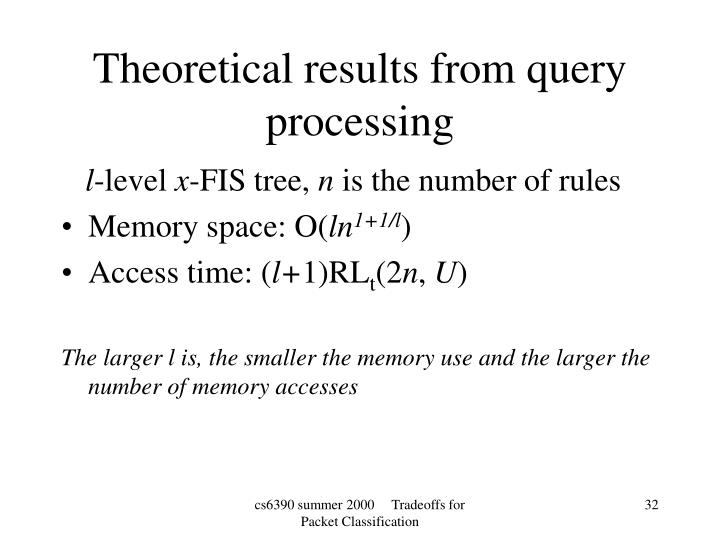 Theoretical results from query processing