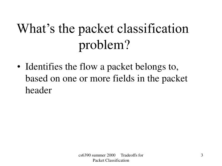 What s the packet classification problem