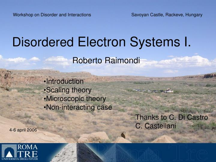 Disordered electron systems i