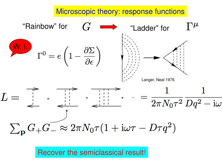 Microscopic theory: response functions
