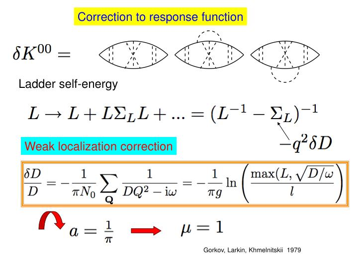 Correction to response function