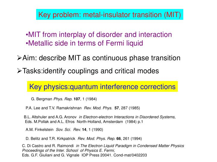 Key problem: metal-insulator transition (MIT)