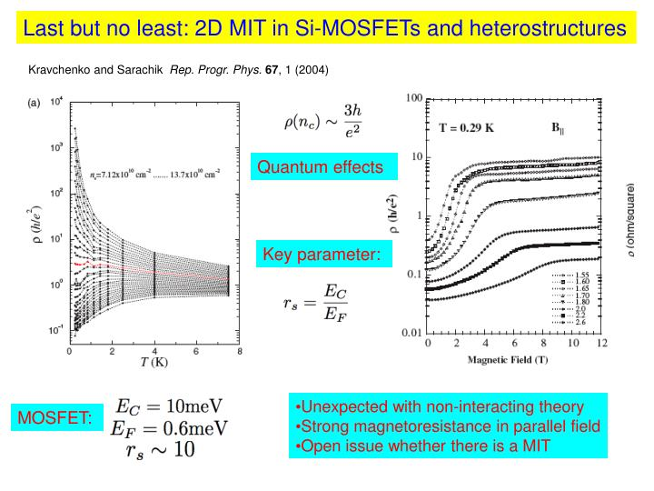 Last but no least: 2D MIT in Si-MOSFETs and heterostructures