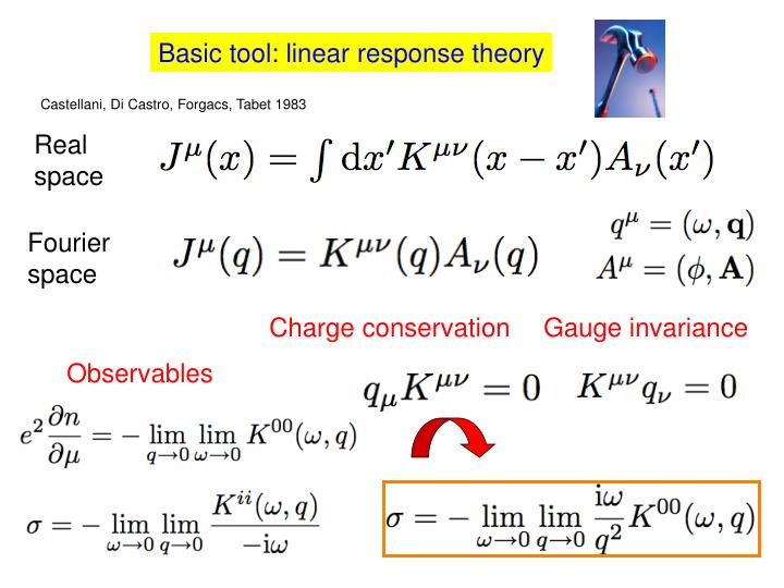 Basic tool: linear response theory
