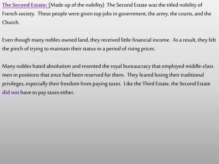 The Second Estate: (