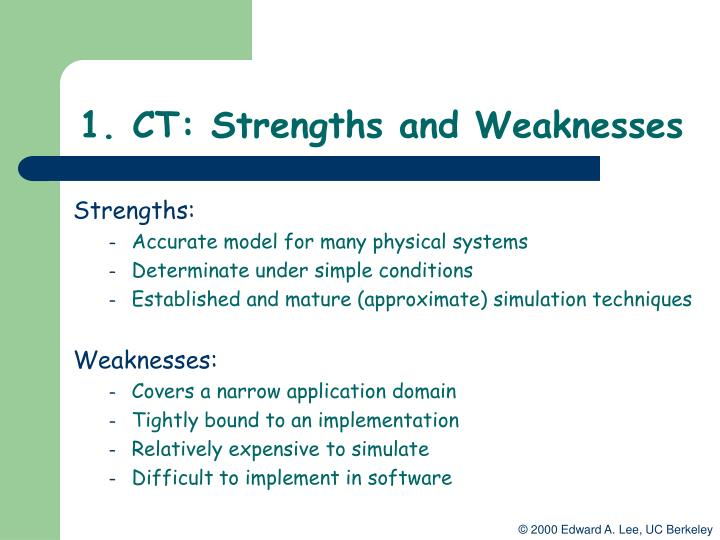 1. CT: Strengths and Weaknesses