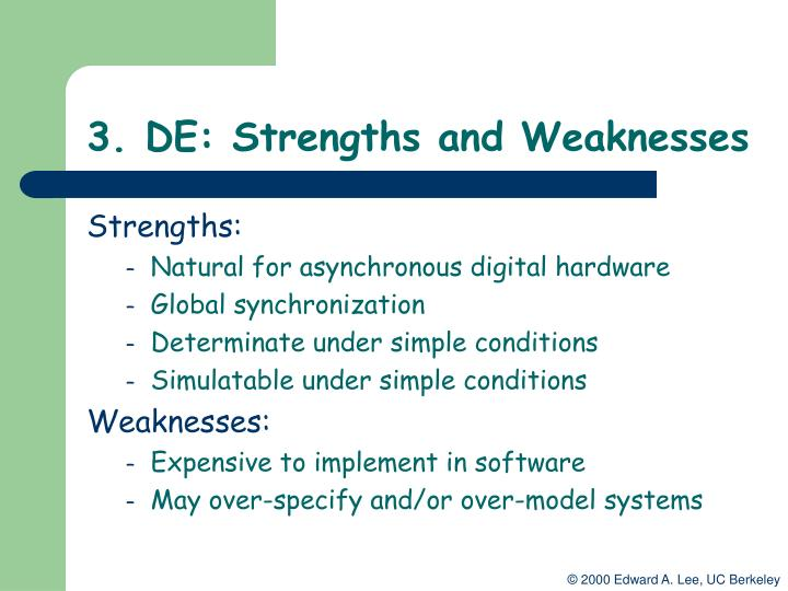 3. DE: Strengths and Weaknesses