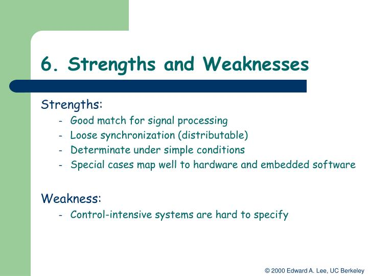 6. Strengths and Weaknesses