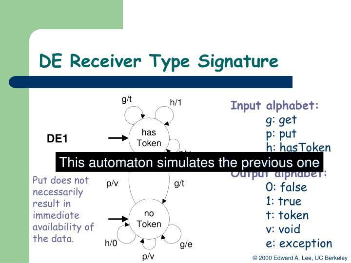 DE Receiver Type Signature