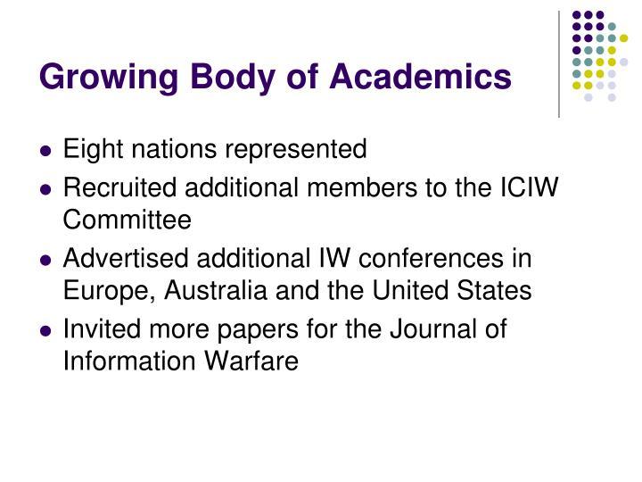 Growing Body of Academics