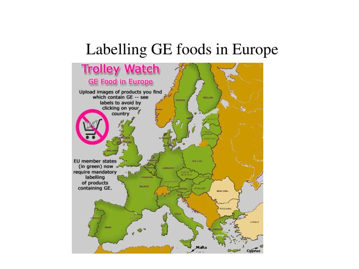 Labelling GE foods in Europe
