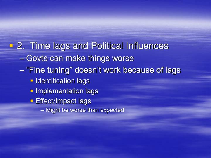 2.  Time lags and Political Influences