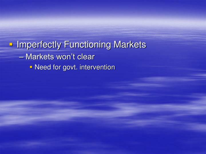 Imperfectly Functioning Markets