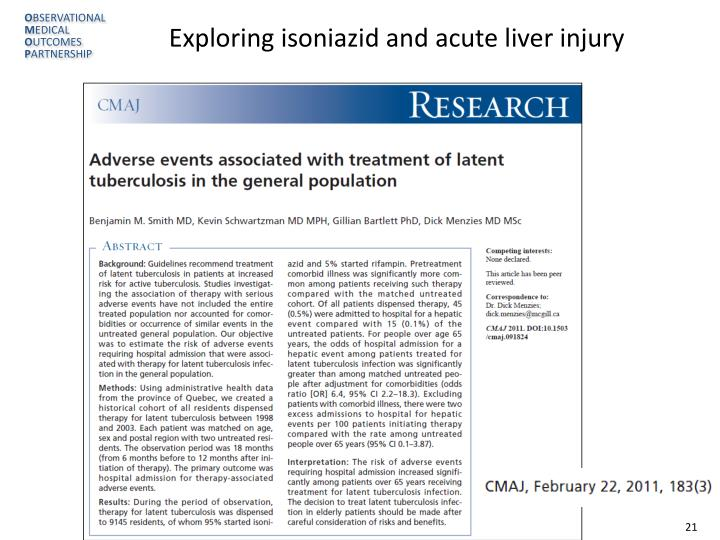 Exploring isoniazid and acute liver injury