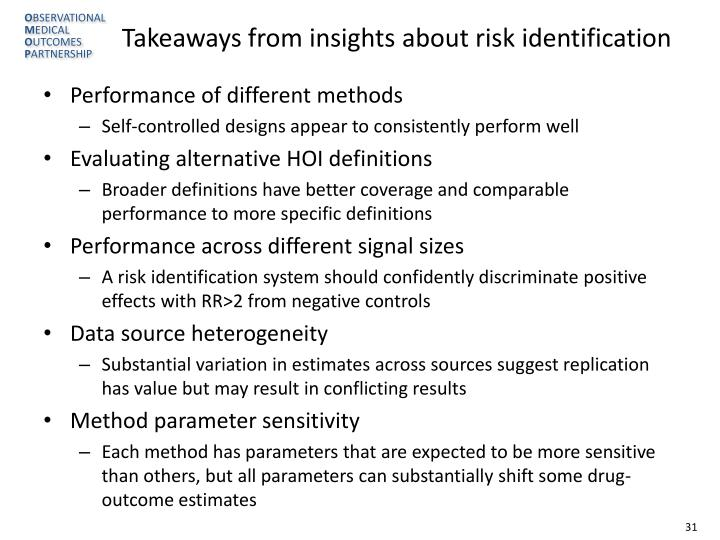 Takeaways from insights about risk identification