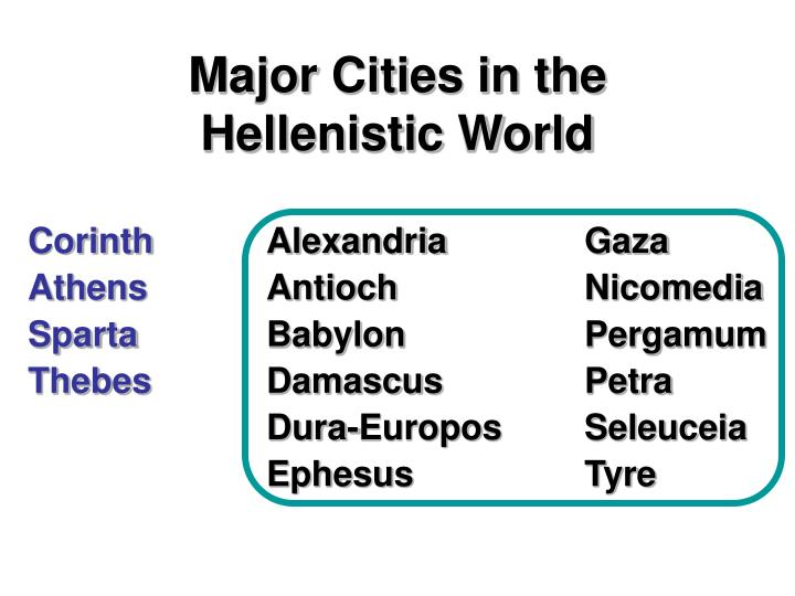 Major Cities in the