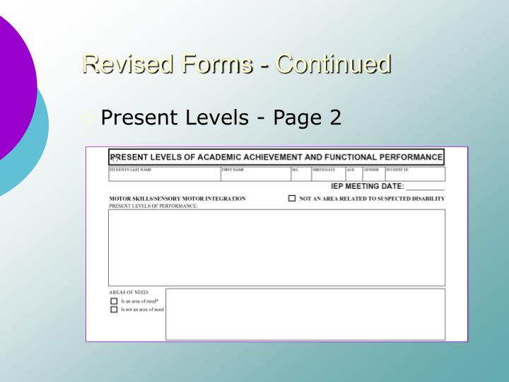 Revised Forms - Continued