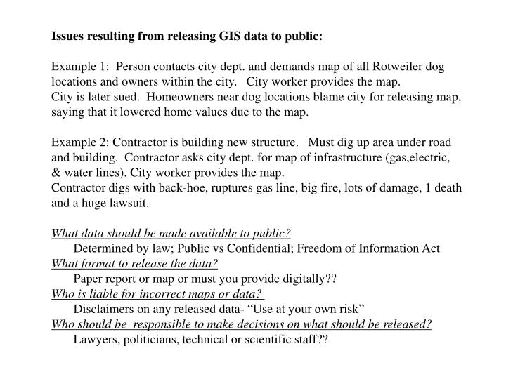 Issues resulting from releasing GIS data to public: