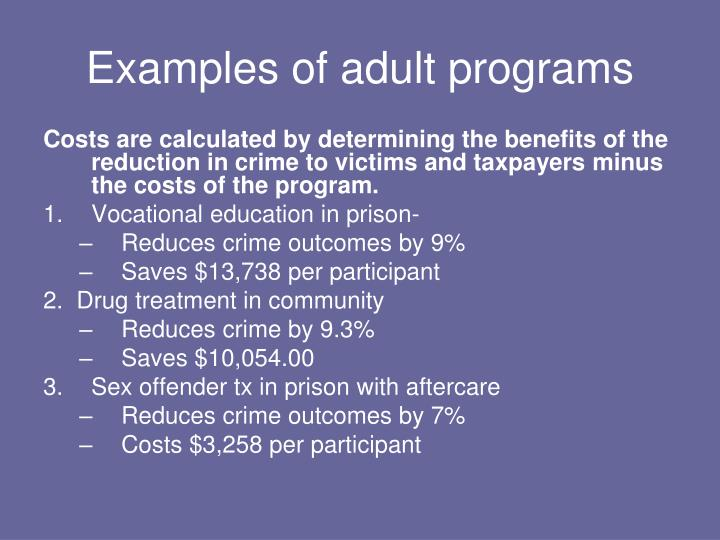 Examples of adult programs