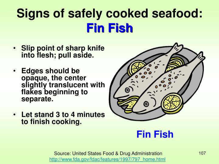 Signs of safely cooked seafood: