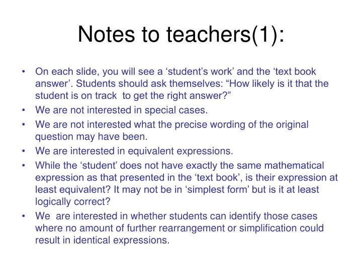 Notes to teachers 1