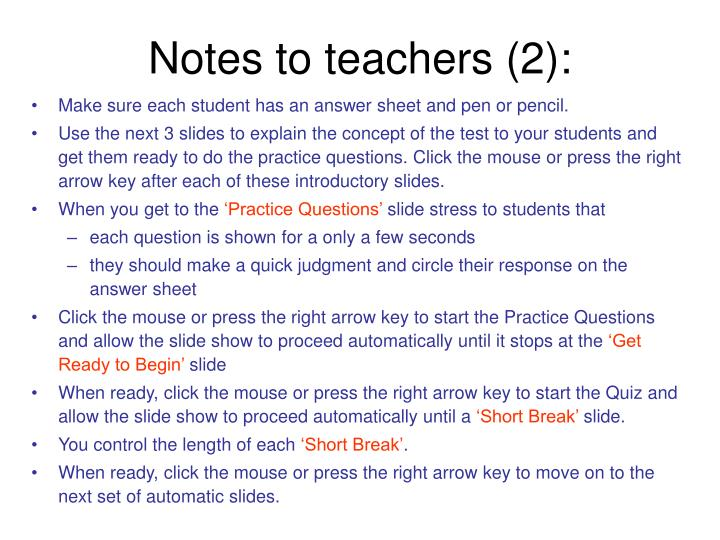Notes to teachers 2