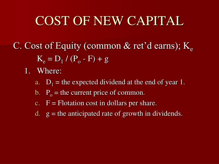 COST OF NEW CAPITAL