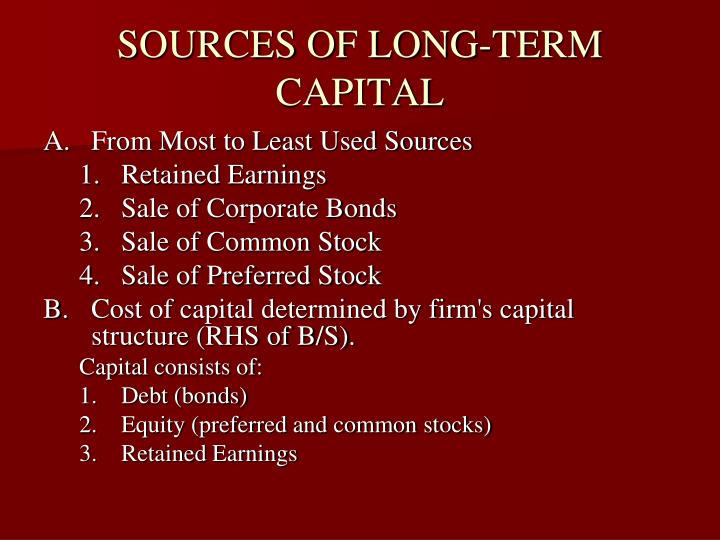 Sources of long term capital