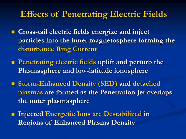 Effects of Penetrating Electric Fields