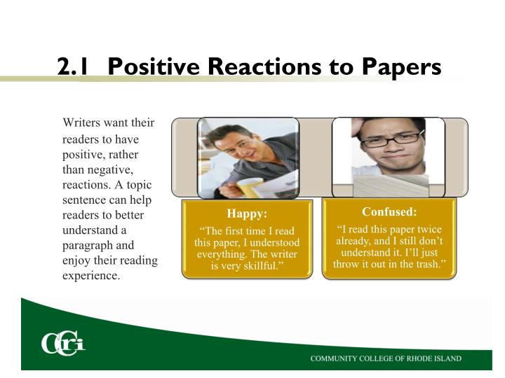 2.1	Positive Reactions to Papers
