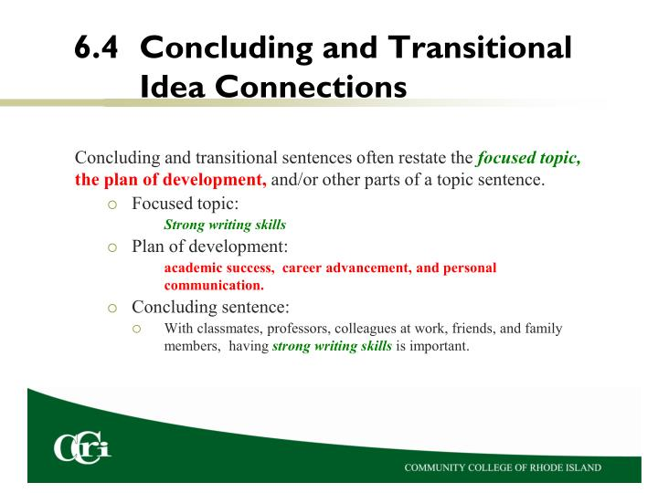 6.4	Concluding and Transitional