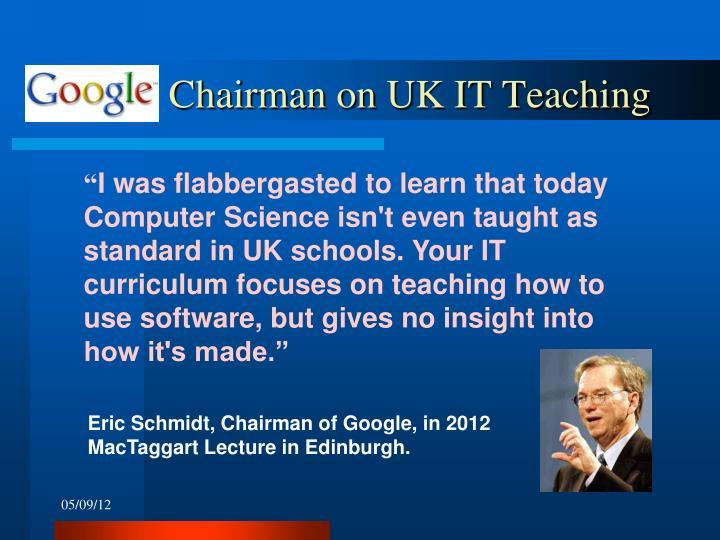 Chairman on UK IT Teaching