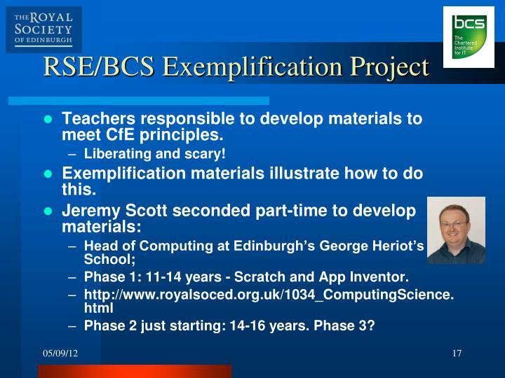 RSE/BCS Exemplification Project