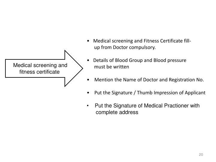 Medical screening and Fitness Certificate fill-