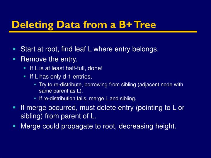 Deleting Data from a B+ Tree