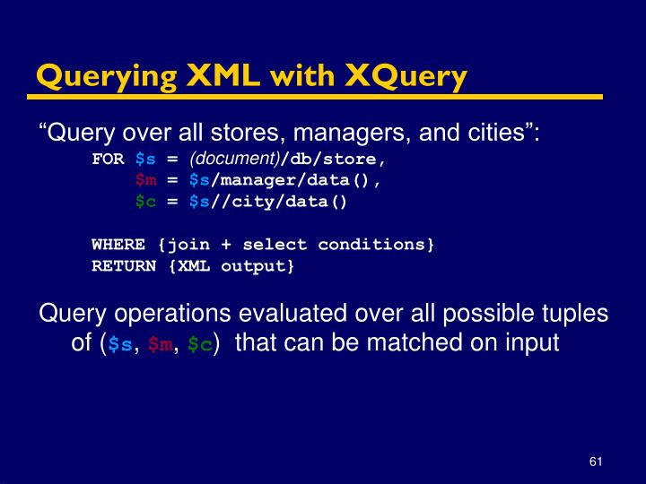 Querying XML with XQuery