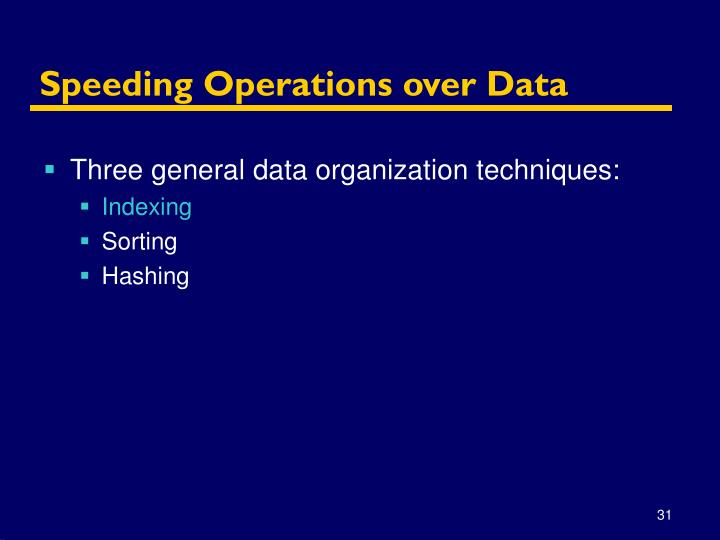 Speeding Operations over Data