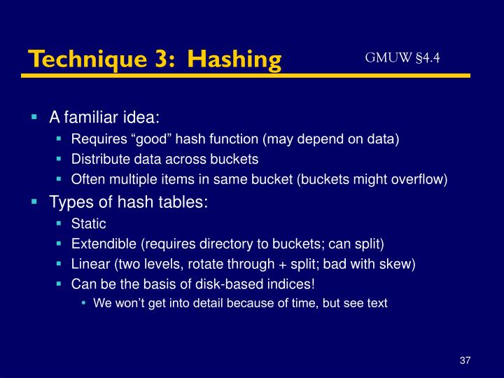 Technique 3:  Hashing