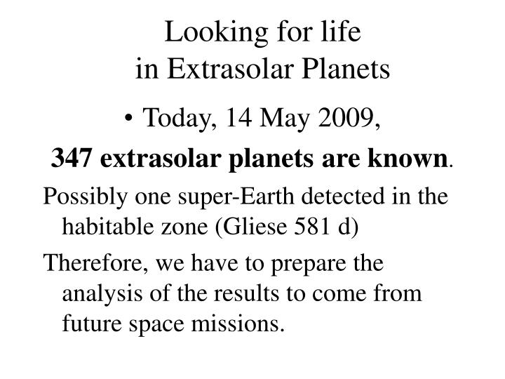 Looking for life in extrasolar planets