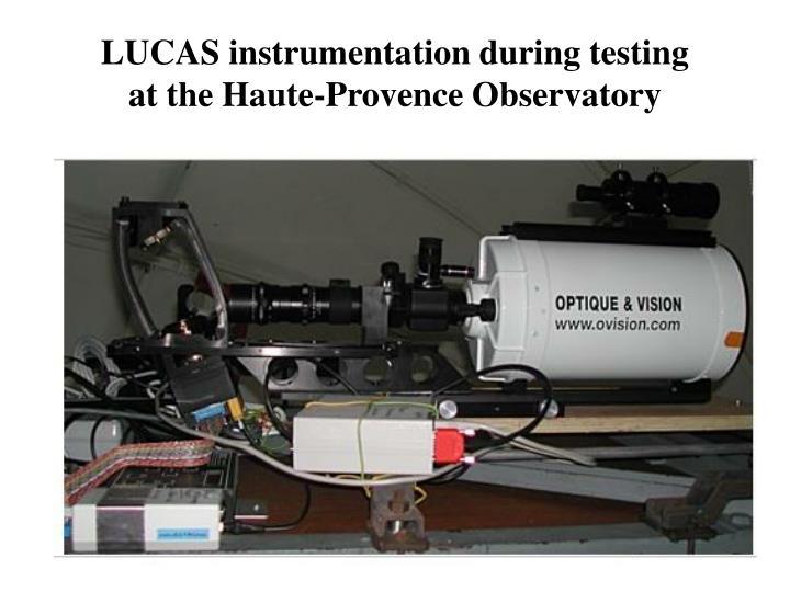 LUCAS instrumentation during testing